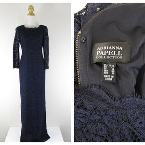 Adrianna Papell Collection Navy Lace Formal Gown